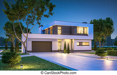 3d rendering of modern cozy house with garage for sale or...