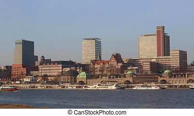 Panorama view of Hamburg Hafencity harbor