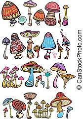 stilizzato, funghi,  set