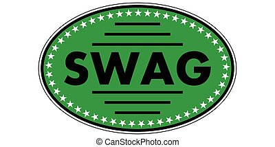 green sticker swag, a sticker with the text swag to the...