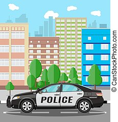 Generic police car at cityscape background
