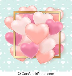 Pink hearts on a green background