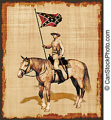 Civil War Confederate Officer on Parchment