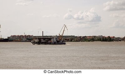 Ship sails on the river Volga (View from the Astrakhan...