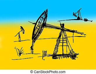 Oil derrick sketch on a yellow-dark blue background