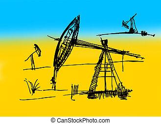 Oil derrick sketch on a yellow-dark blue background