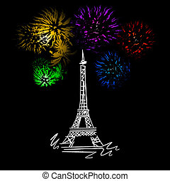 Eiffel tower - sketch with fireworks at the Eiffel tower