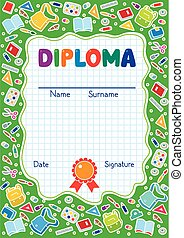 Kids diploma background with education supplies - Kids...