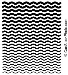 Thinner and thicker wavy, zig-zag horizontal line elements