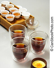 Traditional Chinese tea with crème brulee - Professional...