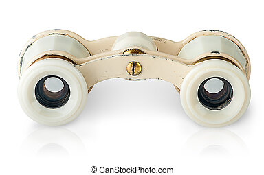 In front old vintage pair of opera glasses horizontally...