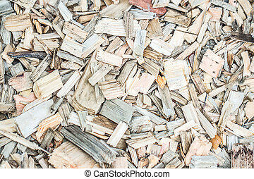 Wood chips and sawdust texture. background
