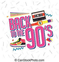 Best of 90s illistration with cassette and shoes background...