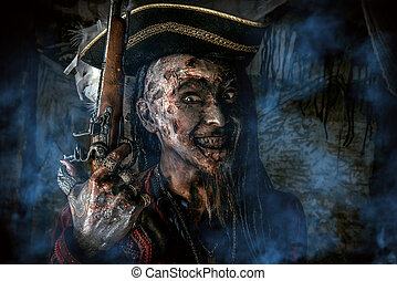 wily dead pirate - Horror novel character. Aggressive angry...