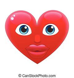 Coração, menina,  Emoticon, sorrizo,  emoji