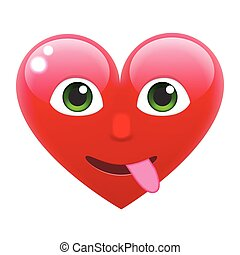 Heart Smile Emoticon with Tongue. Heart Emoji with Tongue....