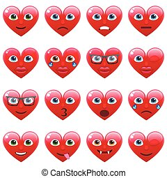 Set of Red Sexy Heart Smile Emoticons for Saint Valentine's...