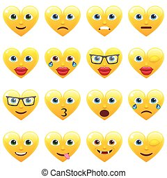 Set of Smile Emoticons for Saint Valentine's Day - Set of...