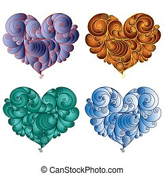 Four colourful floral hearts - Set of four colourful floral...