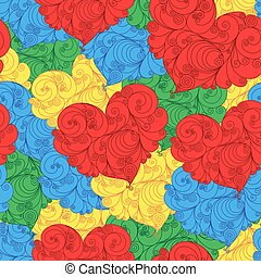 Colourful seamless floral pattern with hearts