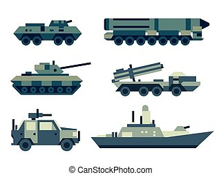 Military army machines technics set. - Collection of...