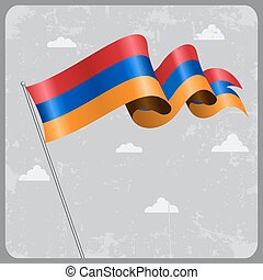 Armenian wavy flag. Vector illustration. - Armenian flag...