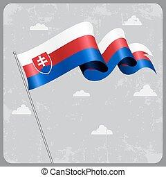 Slovakian wavy flag. Vector illustration. - Slovakian flag...