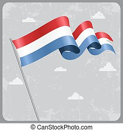 Luxembourg wavy flag. Vector illustration. - Luxembourg flag...