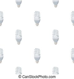 Fluorescent lightbulb icon in cartoon style isolated on white background. Light source pattern stock vector illustration