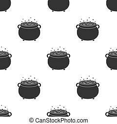 Witch's cauldron icon in black style isolated on white...