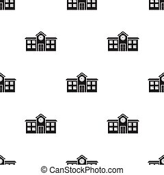 School icon in black style isolated on white background. Building pattern stock vector illustration.