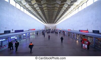 Leningradsky rail terminal in Moscow, situated on...