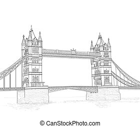 sketch of the Tower Bridge in London, England. vector...