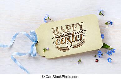 春天, 木頭, 背景, 花, 復活節, 卡片
