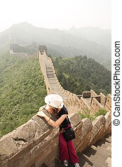 Girl at The Great Wall of China - A section of The Great...