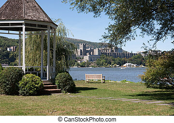 West Point view taken from across the Hudson River in...