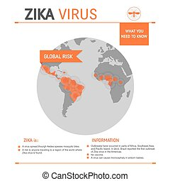 Zica virus infographic - Zika virus global risk concept...