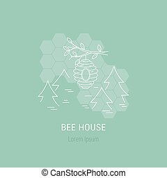 Bee house line concept - Bee house in forest made in line...