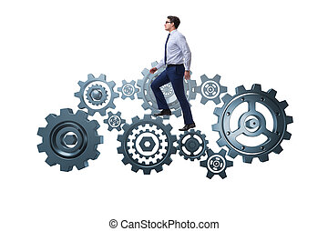 Businessman in teamwork concept isolated on white