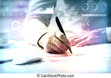 Accounting concept - Close up of man doing paperwork at...