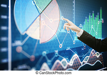 Finance concept - Businessman's hand pointing at creative...