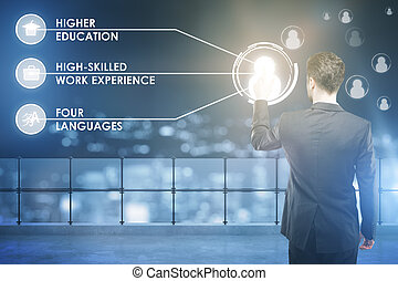 HR concept - Back view of businessman pressing abstract...