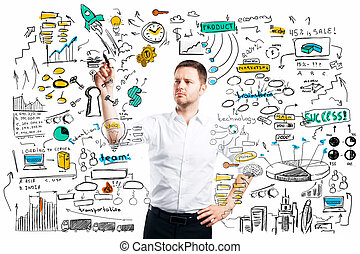 Success concept - Handsome businessman drawing business...