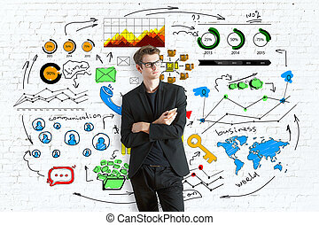 Business communications concept - Thoughtful young...