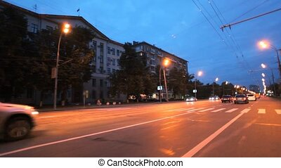 night moscow city car driving