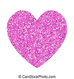Glitter Red Heart isolated on white