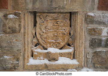 Coat of arms in the folly at the MacKenzie King estate,...