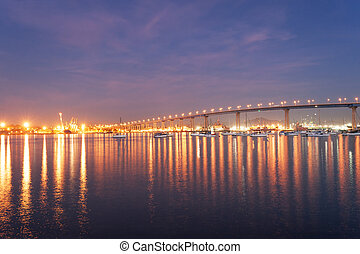 Coronado Bridge at night - Bridge from San Diego to Coronado...