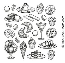 Sketch set of dessert. Pastry sweets collection isolated on...