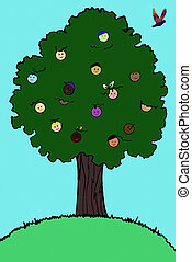Tree of Life Illustration - A tree bearing fruits of faces....